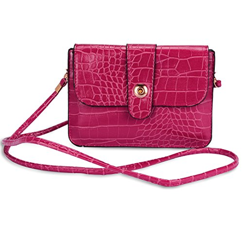 VanGoddy Vegan Leather Horizontal Pouch with Removable Shoulder Strap for All Smartphones - Magenta