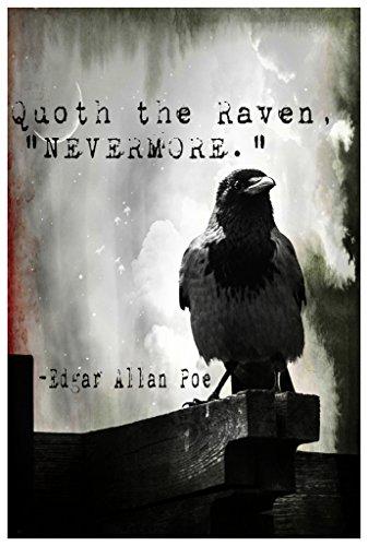 MR.CI -Edgar Allan Poe- Quoth The Raven Nevermore Poster Wall Print|Inspirational Motivational Classroom Home Office Dorm|18 X 12 in|SJC123
