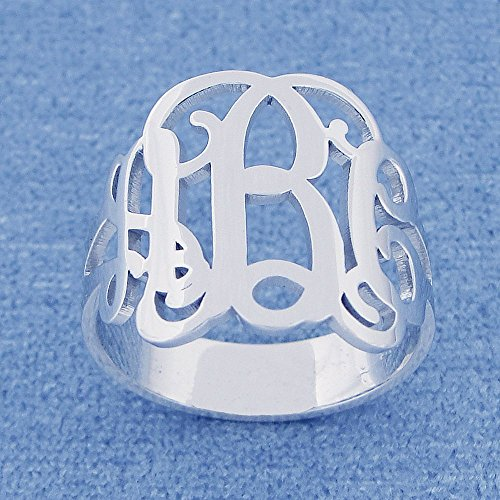 Monogrammed Initials - 3 Initial Monogram Ring Sterling Silver Personalized Monogrammed Fine Jewelry