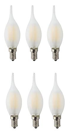 Paquete de 6 regulables AC 220V E14 6W Frosted LED Filamento Vintage bombilla, 60W bombillas