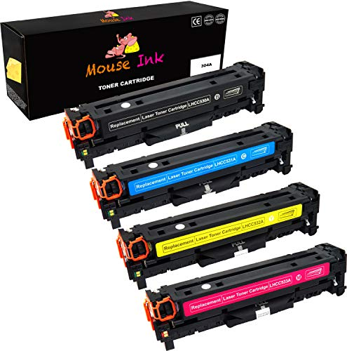 Laser Mouse Hewlett Packard (Mouse Ink Compatible Toner Cartridge Replacement for HP 304A CC530A  ( Black, Cyan, Magenta, Yello , 4 pk ))