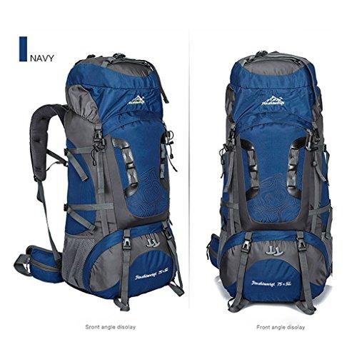 Die neue Outdoor-Sporttasche Bergsteigen Tasche 80 Liter Rucksack mit großer Kapazität Reiserucksack Klammer Bergsteigen tiefes Blau