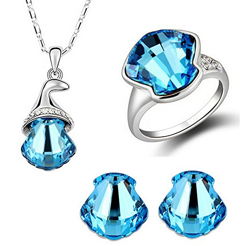 HSG Fashion Silver Ocean Blue Scallops Crystal Jewelry Sets Shell necklace earrings ring JM2356
