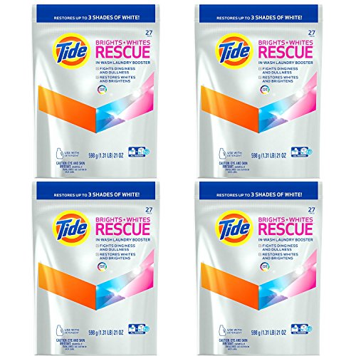 Tide Brights and Whites Rescue Laundry Pacs In-Wash Detergent Booster, 27 Count, 4-Pack