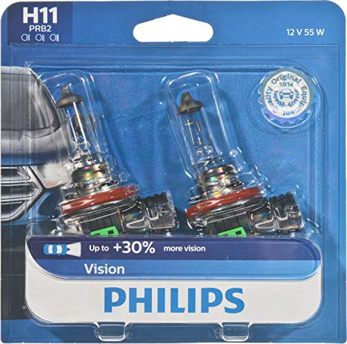 Philips H11 Vision Upgrade Headlight Bulb with up to 30% More Vision, 2 Pack,12362PRB2 ()