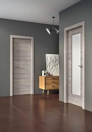 Puerta abatible de interior – Laminado veteado horizontal – Color gris claro (80 x 210 derecha): Amazon.es: Bricolaje y herramientas