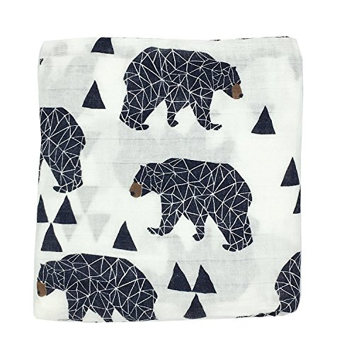 HGHG 100% Cotton Muslin Baby Blankets Bedding Infant Swaddle Towel Multifunctional Envelopes 47×47 (Bear)