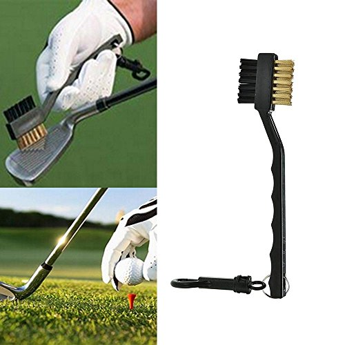 (Meapann Black Lightweight Useful Groove Ball Cleaner Cleaning Kit Tool 2 Sided Brass Wires Nylon Golf Brush with Clip Golf Club Brush)