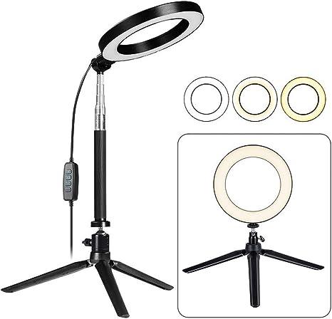 6 Zoll Led Ring Light Mit Ausziehbarem Stativ Selfie Stick Dimmable Table Kreis Licht Für Selfie Makeup Youtube Beleuchtung