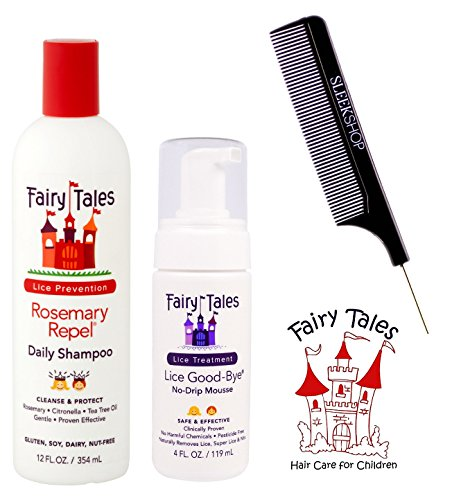 Fairy Tales Rosemary Repel Daily Shampoo & Lice Good-Bye No-Drip (with Sleek Steel Pin Tail Comb) (12 oz + 4 oz - retail DUO kit)