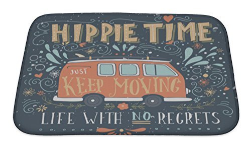 Microfiber Mini Bath Mat - Gear New Bath Rug Mat No Slip Microfiber Memory Foam, Vintage Hippie Time Print With A Mini Van Decoration And Lettering Life With No, 24x17
