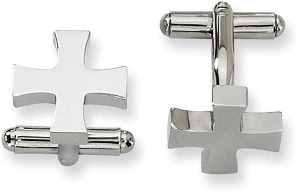 Stainless Steel Polished Cross Cufflinks
