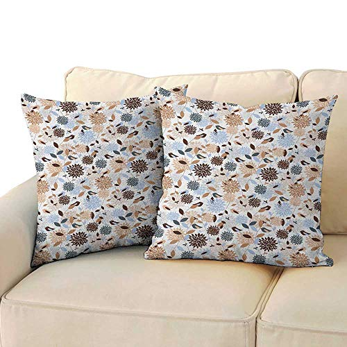 Hydrangea Blue Needlepoint - Ediyuneth Home Sofa Cushion Cover Pillowcase Gift Earth Tones,Flourishing Hydrangea Flowers in Abstract Style Skinny Stems with Leaves, Brown Blue White 18