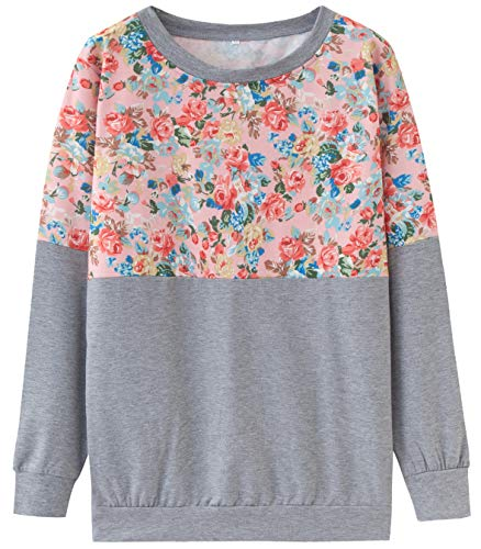 Gray Floral Pullover - Finoceans Women's Floral Tunic Pullover Sweatshirts Long SleeveTops Gray