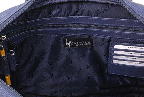 A4 Bleu Collection Sac Catwalk signé Grosvenor noir en Marine cuir de travail 6wvFwEqg