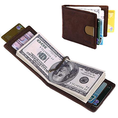 Front Pocket Wallets for Men Slim RFID Bifold Minimalist Money Clip Card Case -Made From Full Grain Leather Pabin(Texas Brown)
