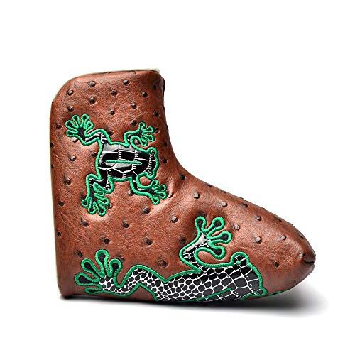 COOLSKY Golf Putter Head Cover Magnetic Closure Design Frog Pattern Brown Synthetic Leather Blade Putter Headcover