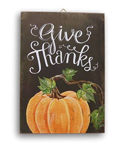 Wooden Hanging Thanksgiving Autumn Themed Give Thanks Decor Sign - 9 x ...