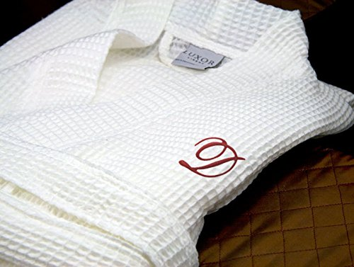 Luxor Linens - Waffle Weave Spa Bathrobe - Ciragan Collection - Luxurious, Super Soft, Plush & Lightweight - 100% Egyptian Cotton, Made in Turkey - Available with Custom Monogramming