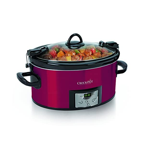 Crock-Pot 6-Quart Programmable Cook & Carry Oval Slow Cooker with Digital Timer, Red 51NWAkSNahL