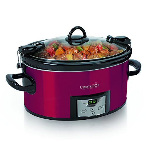 Crock-pot SCCPVL610-R-A 6-Quart Programmable Cook & Carry Oval Slow Cooker with Digital Timer, Red