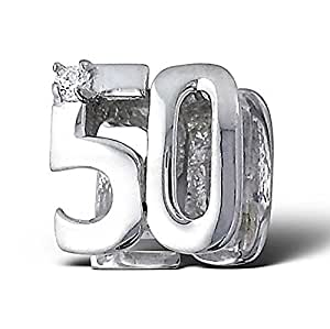 """.925 Sterling Silver """"Number 50 Fifty 50th Birthday"""" Charm Bead Compatible with all European Charm Bracelets"""