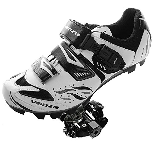 Venzo Mountain Bike Bicycle Cycling Shimano SPD Shoes + Sealed Pedals 46