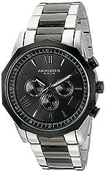 Akribos XXIV Men's Two-Tone Multi-Function Dodecagon Bezel with Two-Tone Dial on Two-Tone Stainless Steel Bracelet Watch AK940TTB