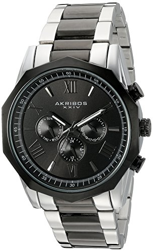 Akribos XXIV Men's Two-Tone Multi-Function Dodecagon Bezel with Two-Tone Dial on Two-Tone Stainless Steel Bracelet Watch AK940TTB