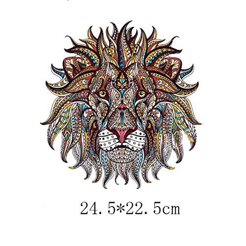 Adarl Creative Color Lion Big Printed Iron On Patch DIY Garments A-level Washable Sticker Thermal Transfer Patch for Clothing
