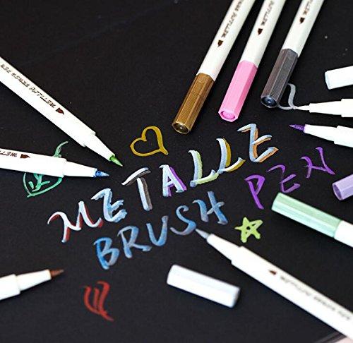 STA 10 Colors Lot Metallic Marker Pen DIY Scrapbooking Crafts Soft Brush Pen Art Marker Pen For Stationery School Supplies angel