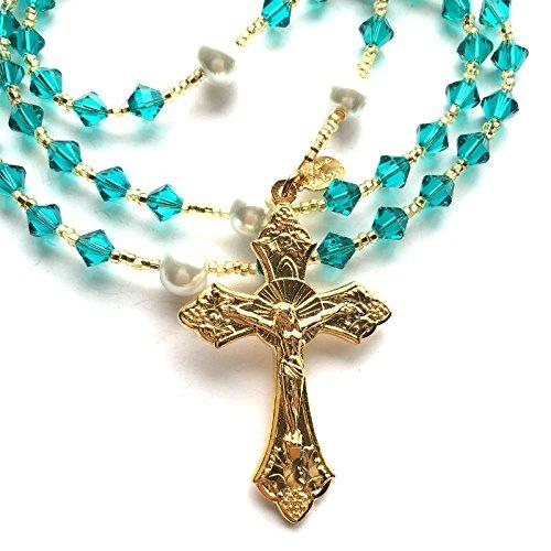 Gold Plated Birthstone Catholic Prayer Rosary Beads Made with Genuine Crystals from Swarovski and White Glass Pearls – Keepsake Birthday Christmas Communion Baptism Gift