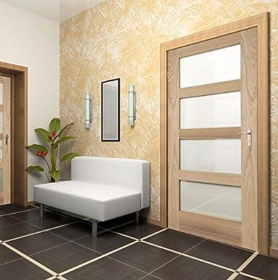 Verde árbol puertas roble agitador 4 cristal mate de luz de puerta de interior: Amazon.es: Bricolaje y herramientas