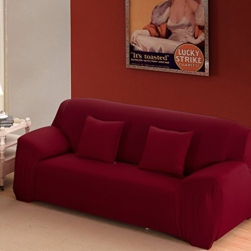 - Boshen Stretch Seat Chair Covers Couch Slipcover Sofa Loveseat Cover 9 Colors/4 for 1 2 3 4 Four People Sofa + 1 Pillowcase (Sofa/3 Seater, Wine Red)