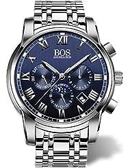 BOS Mens Quartz Analog Wrist Watch Chronograph Stainless Steel Band Blue 8006 …