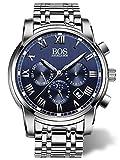 BOS Men's Quartz Analog Wrist Watch Chronograph Stainless Steel Band Blue 8006