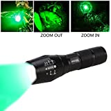 VASTFIRE 350 Yard Hunting Light Zoomable CREE Green Hunter Flashlight for Hog Varmints Predator Coyote Night Hunting