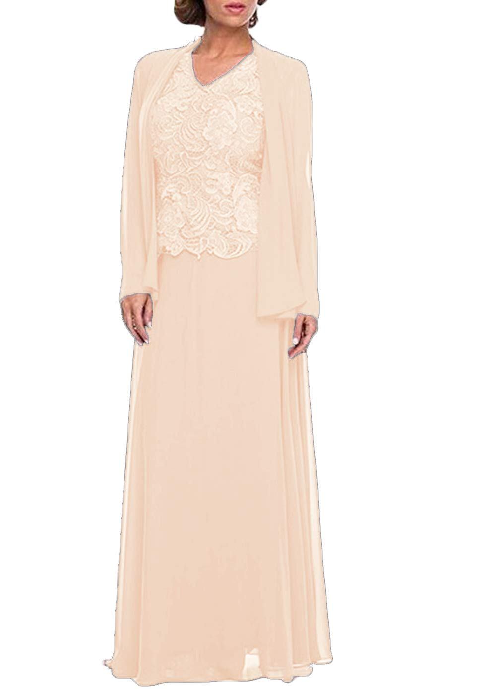 Women\'s Three Pieces Lace Mother of The Bride Dress with Jacket Plus Size  Prom Gown Champagne