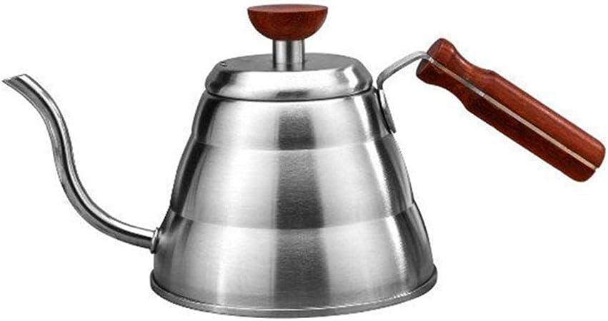 Cafetera Induccion Cuello de Cisne 1,0 L, Cafetera de Goteo para Café de Acero Inoxidable Inducción y Toda Placa de Cocina, Mango de Madera - Diseño Ergonómico - Anti-Escaldado,Plata: Amazon.es: Hogar