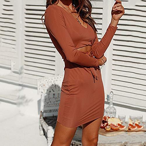 Mujer Corte Un Swing La Vestido Básico Rodilla Sobre JIZHI Acordonado M Orange Vaina Color Elegante dxCdp1