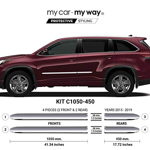 MY CAR MY WAY (Fits) Toyota Highlander 2015-2019 Chrome Body Side Molding Cover Trim Door Protector
