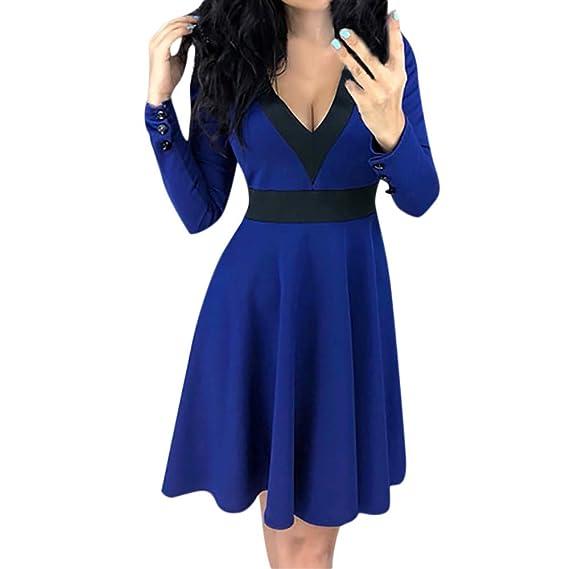 Langarm Damen Sunday mit V-Ausschnitt Kleid Body Shape Abend Party Kleider