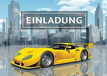 12 Einladungskarten Kindergeburtstag Jungen Rennauto Rennwagen Sportwagen  Jungs Geburtstag Geburtstagseinladungen Einladungen Kartenset