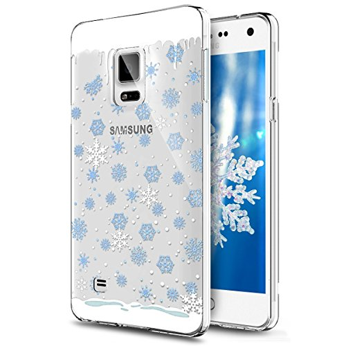 Case,Galaxy Note 4 Cover Christmas, Samsung Galaxy Note 4 Crystal Clear TPU Case, Ultra Slim Soft Silicone Rubber Gel Skin Protecive Cover for Samsung Galaxy Note 4 (Blue Floral) ()