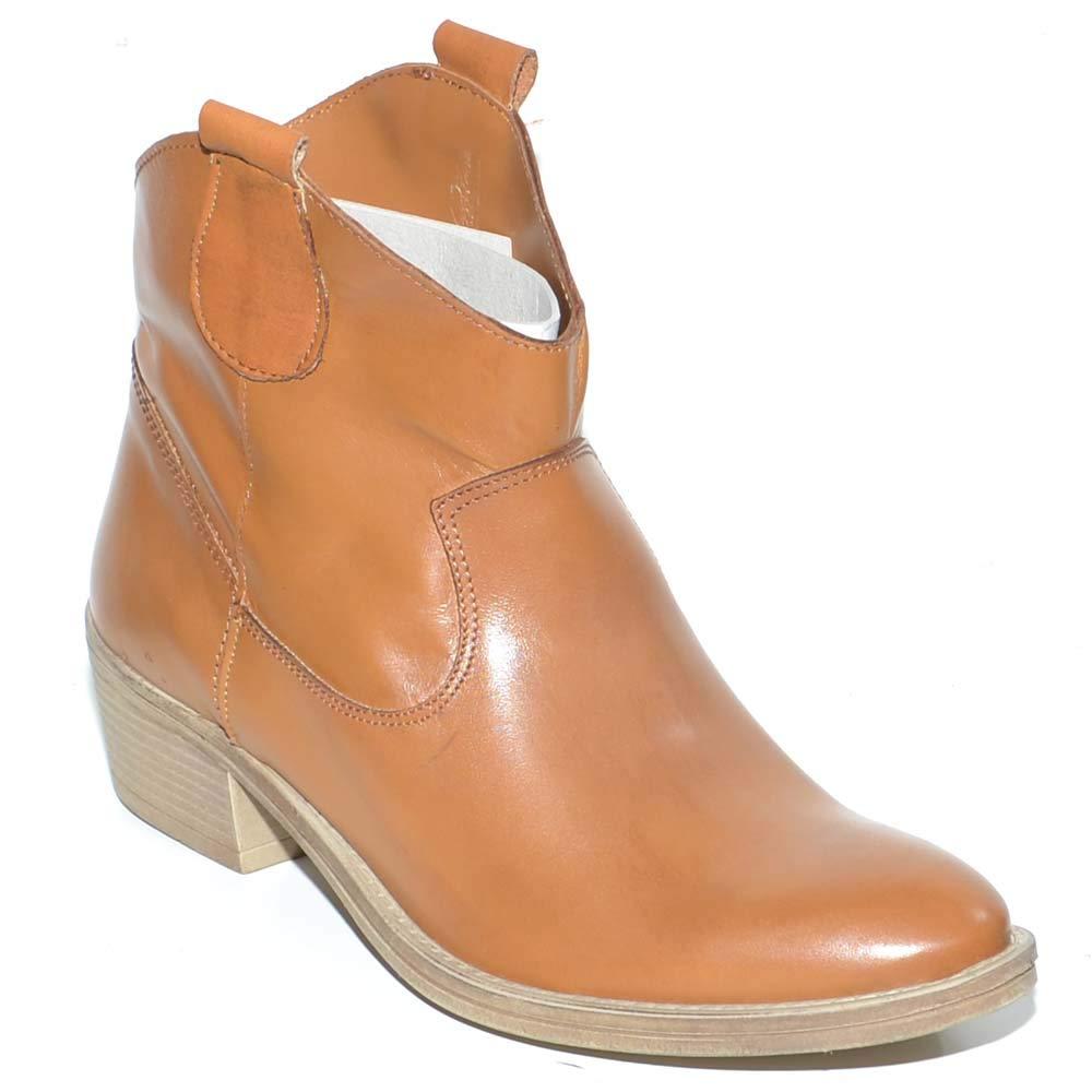 Camperos donna stivali texani tipo western nero in vera pelle liscia altezza caviglia moda basic handmade in italy donna stivaletti Malu shoes |