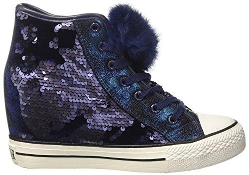 CAFe NOIR Sneaker Donna VELLUTO E Paillettes RIALZO Zeppa cm 8 Blu