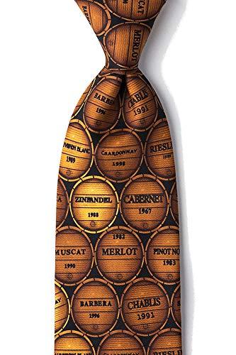 Men's Wine Oak Barrels Merlot Muscat Chardonnay Novelty Necktie Tie