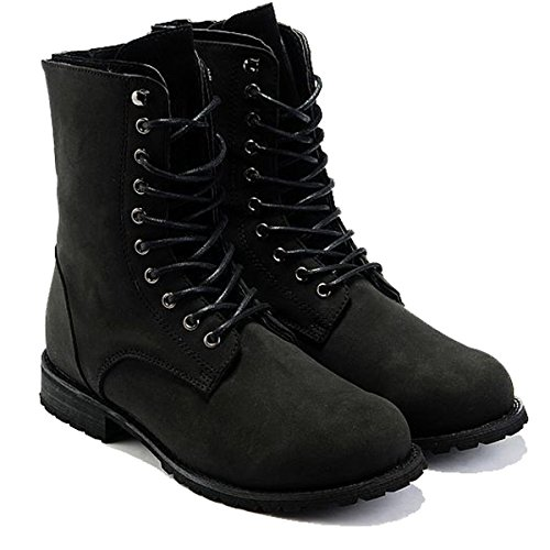 VFDB Men Military Combat Boots - Foldable Cuff Lace Up Boots -Flat Motorcycle Booties