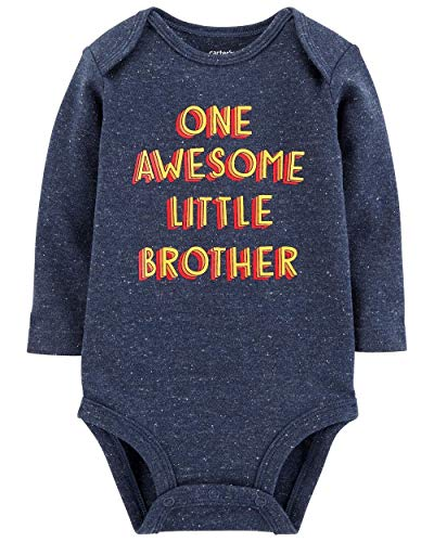 - Carter's Baby Boys' Collectible Long-Sleeve Bodysuit (Blue Heather/Brother, 9M)