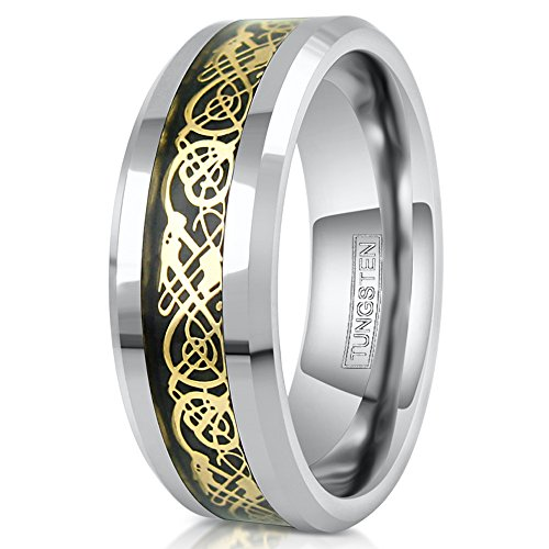 King's Cross Stunning 8mm Silver Tungsten Carbide Wedding Band w/Gorgeous Gold-tone Celtic Dragon Inlay on Black. (tungsten (8mm), (Celtic Gold Tone Cross)